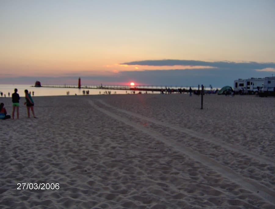 Sunset over Grand Haven state park
