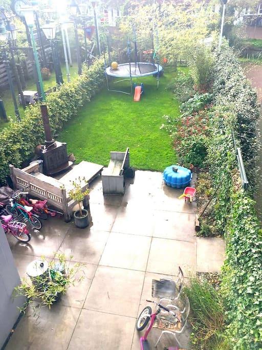 Garden with trampoline