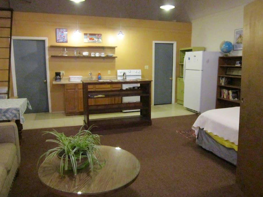 Looking toward kitchen area. Closet door on right.