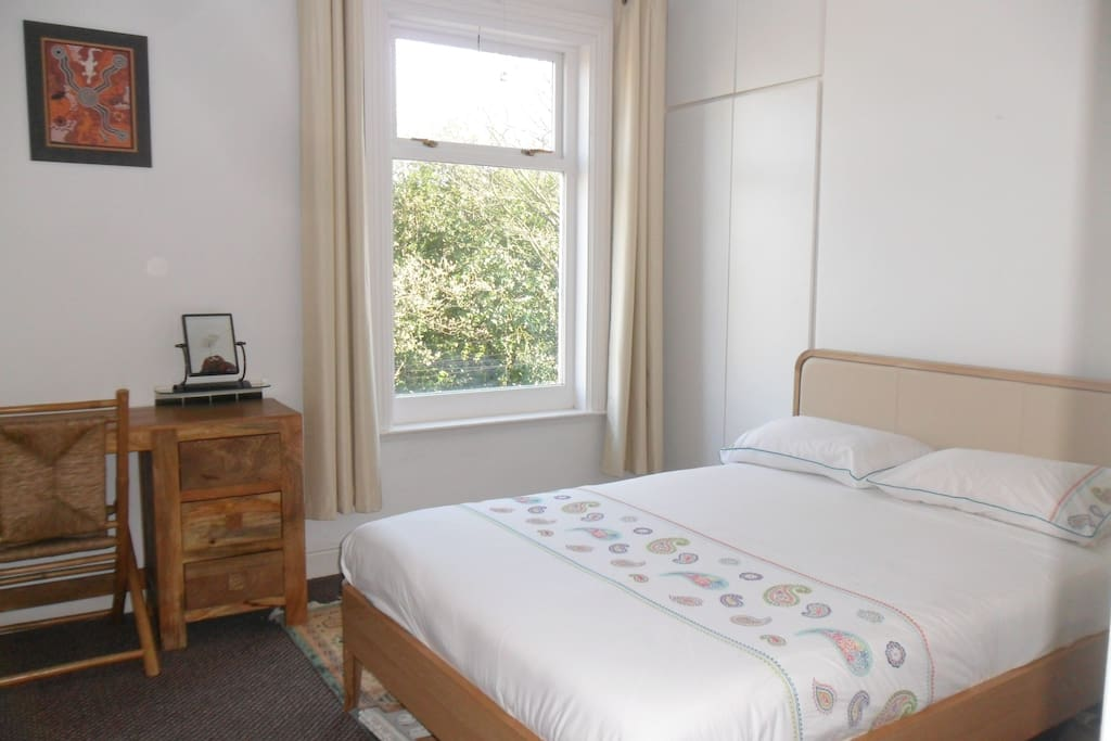 Bedroom has lovely Views over the Park or you can lie in bed and watch the stars.