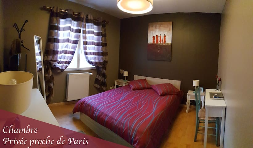 Chambre privative à 40mn de Paris