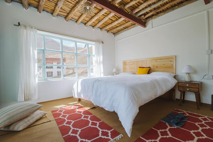 Sunlit room with Mountain views in Chicham, Spiti