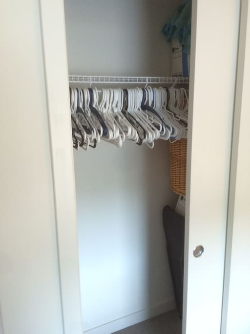Closet space as well as empty shelves for your use.