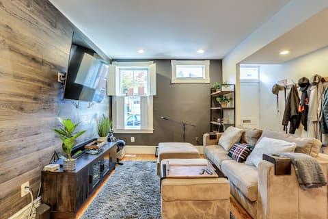 "Cozy living room, Amazon FireStick, 65"" 4K HD TV, Sonos Sound Bar."