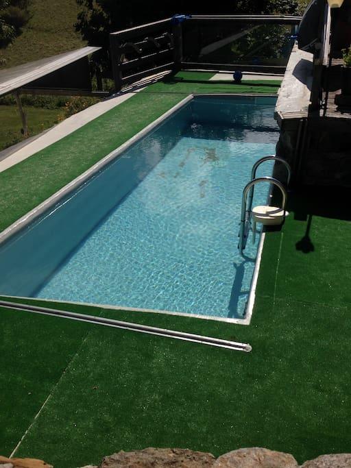 Bassin d'environ 6m*2m et 1,3 m de profondeur  Chauffé a 25 degrés  Avec moteur de nage à contre courant 40m3/h ( très bon pour les massages ) mais  il faut pas s'attendre à nager!!  Alarme pour les enfants et abris amovible pour la chaleur et la sécurité permettant des bains sous l'abris