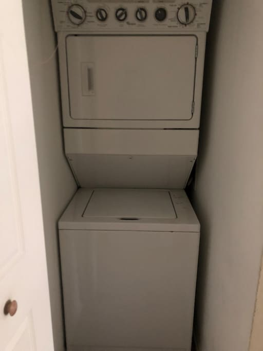 In-unit laundry for guests.