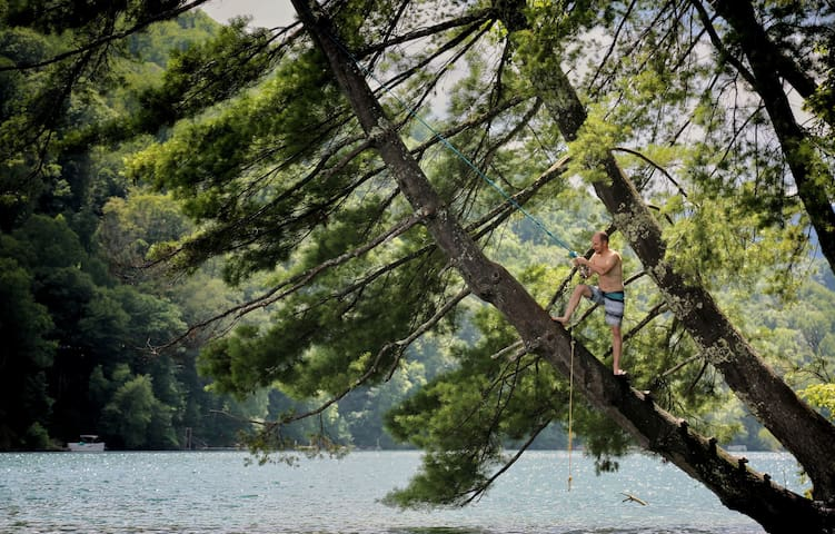 """The rope swing on """"Rabbit Island"""" on the Nantahala Lake is easily accessible via our canoe that you'll have free access to."""