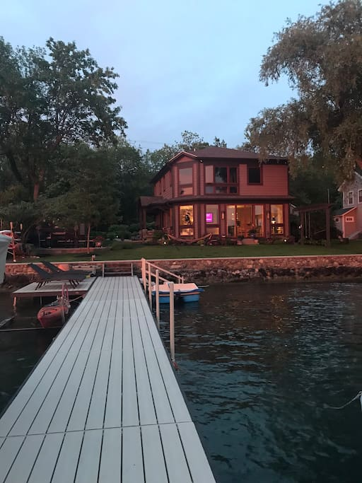 View from the dock, which you have access to. The studio is left of the dock and the main house.