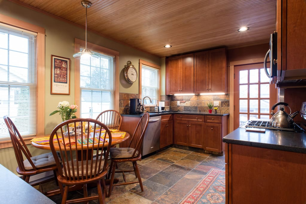 Brand new, $68,000 kitchen remodel, completed in early 2017. Wood ceiling with recessed lighting.