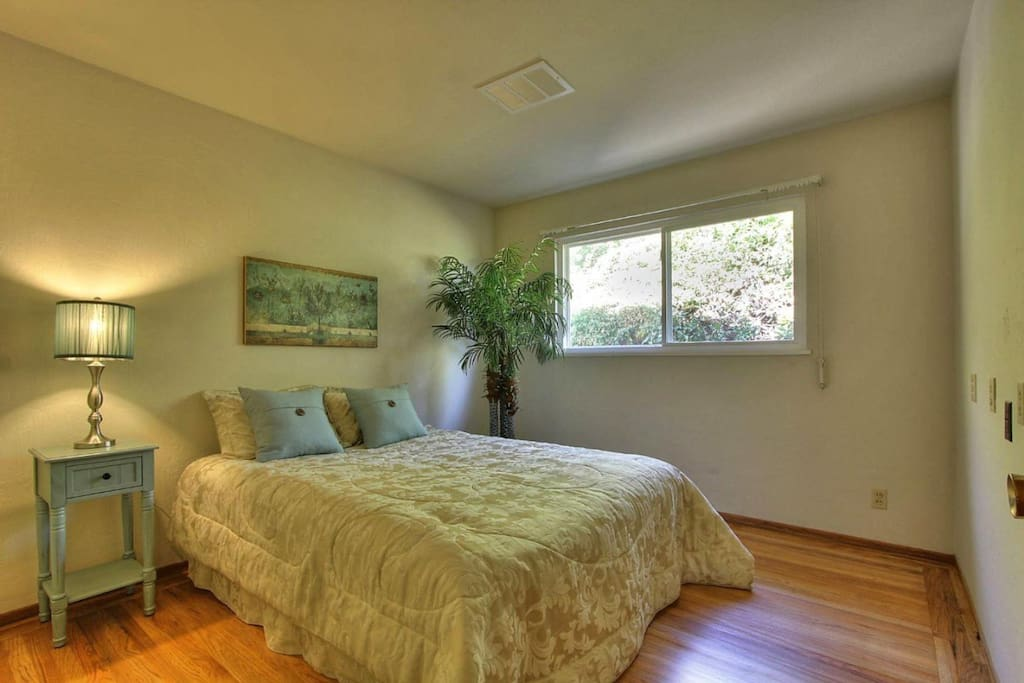 Large bedroom with hardwood floors and queen sized bed