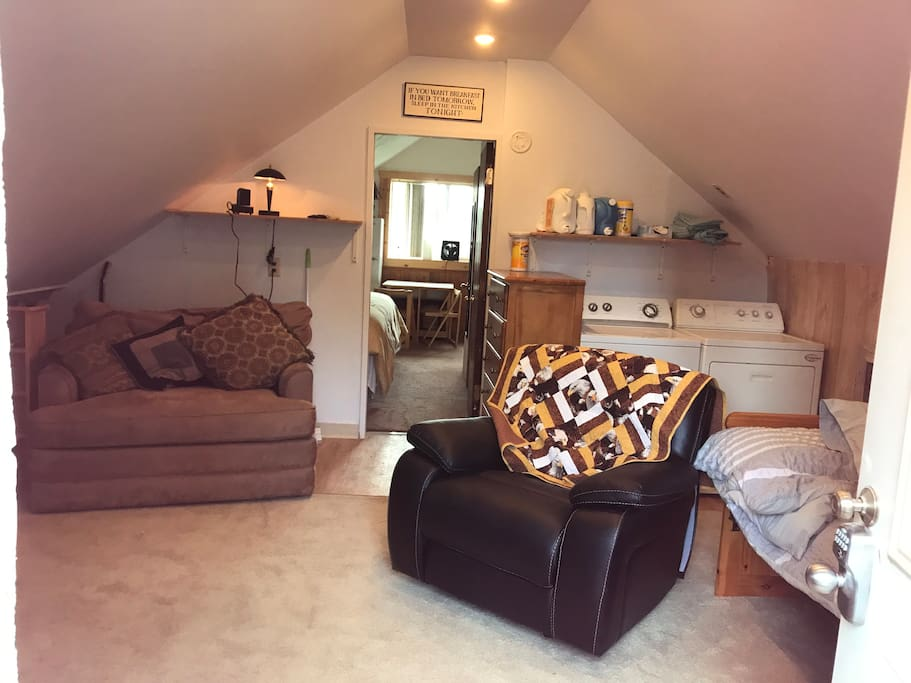 Cheerful livingroom w pull out sofa