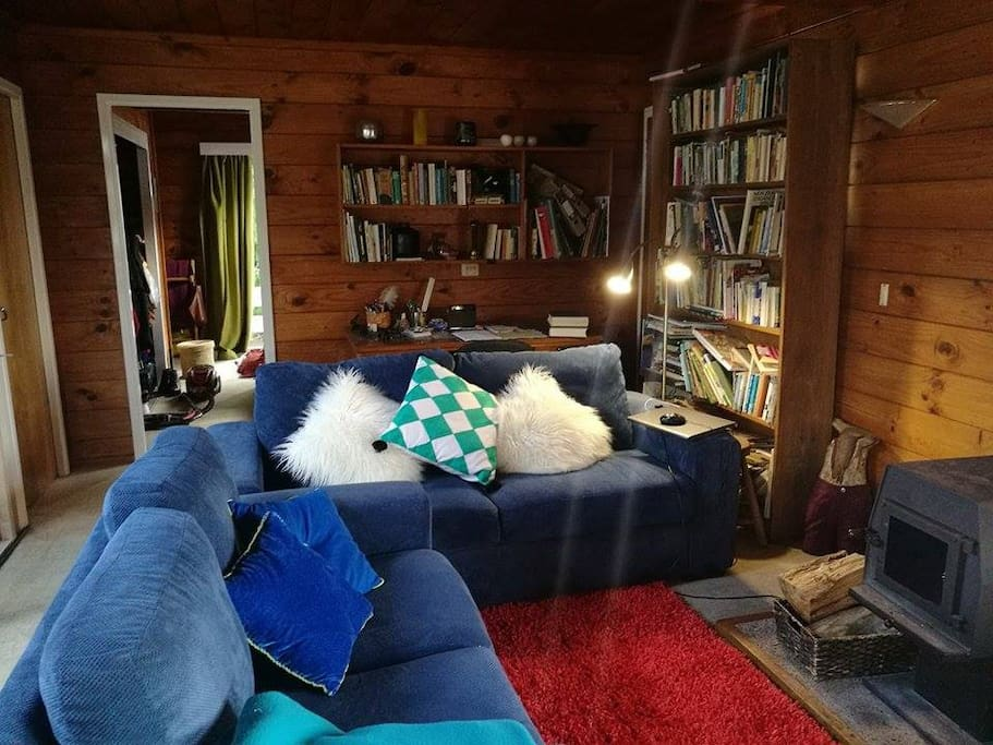 Cosy lounge with fire for Winter warmth.