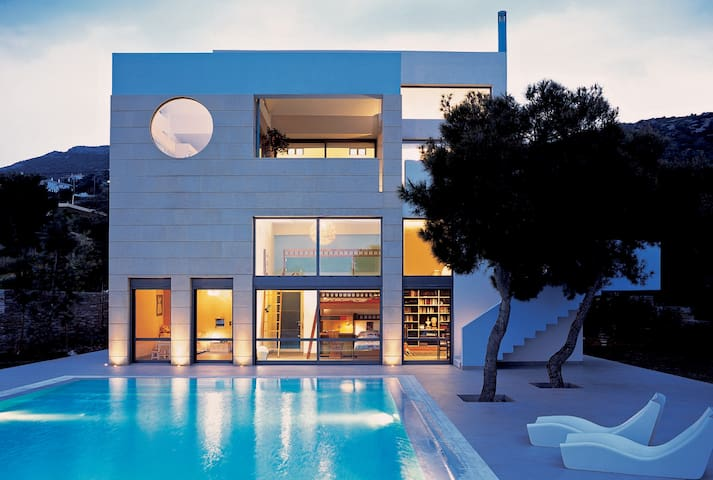 Minimal Blue Villa with sea view, Chamolia, Attica