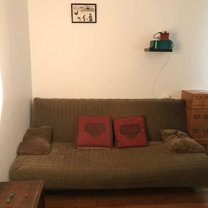 Couch in the living room.
