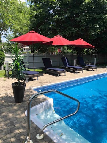 You can enjoy the pool at your leisure we just ask that you fill out a liability form. Pool toys such as a basketball hoop along with pool floats are at hand.
