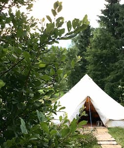 Glamping tent on a nature tomt near Moss