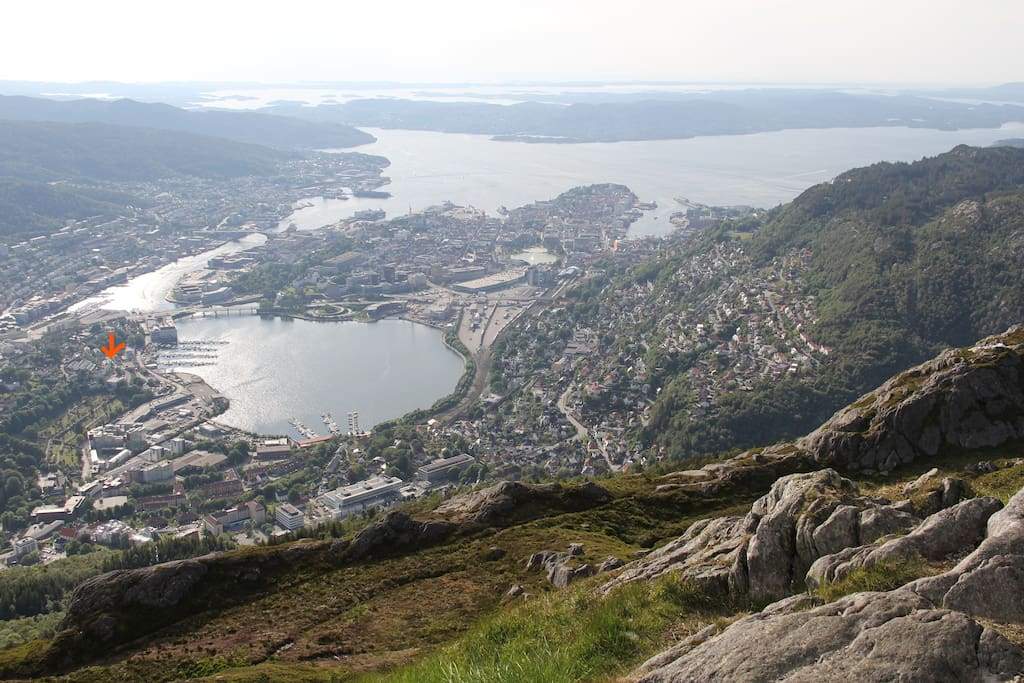 The centre of Bergen seen from Mount Ulriken. The Apartment being  marked by an Arrow to the left in the picture