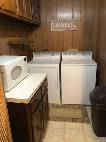 Washer and dryer for your convenience. Laundry soap provided.