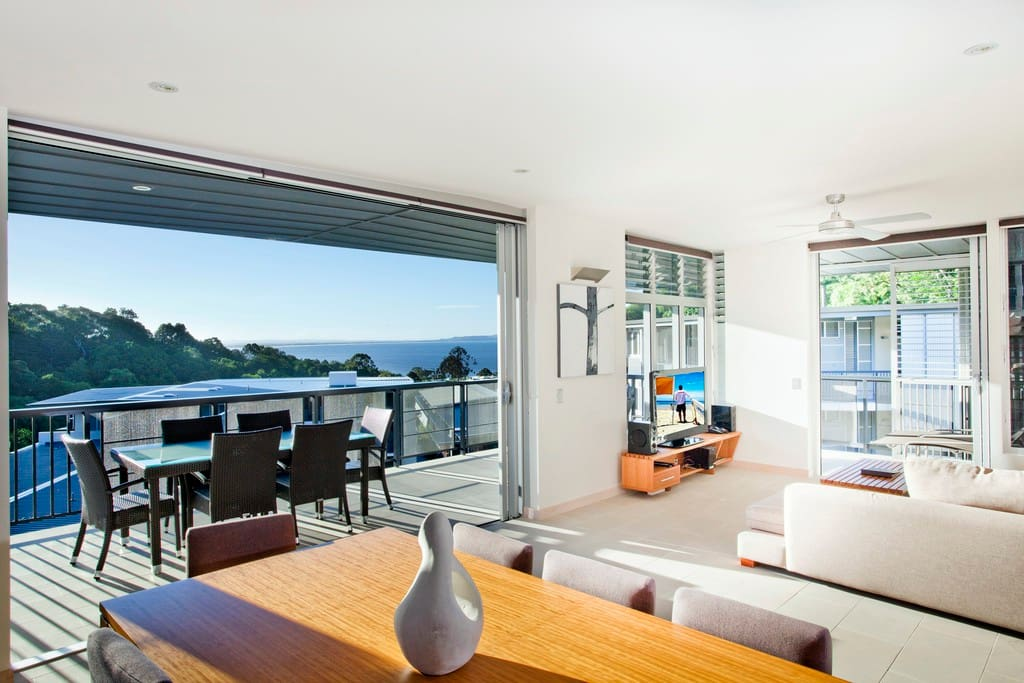 Open plan Penthouse living - Please be advised that Peppers Noosa Resort & Villas is a full service hotel. The photos provided showcase our style and service culture, however your apartment may differ in exact position, layout or view.