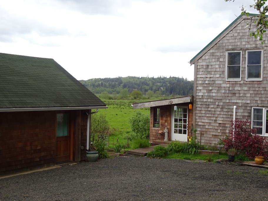 Studio to left, main house to right