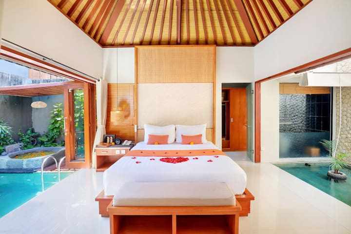 bedroom with private pool view