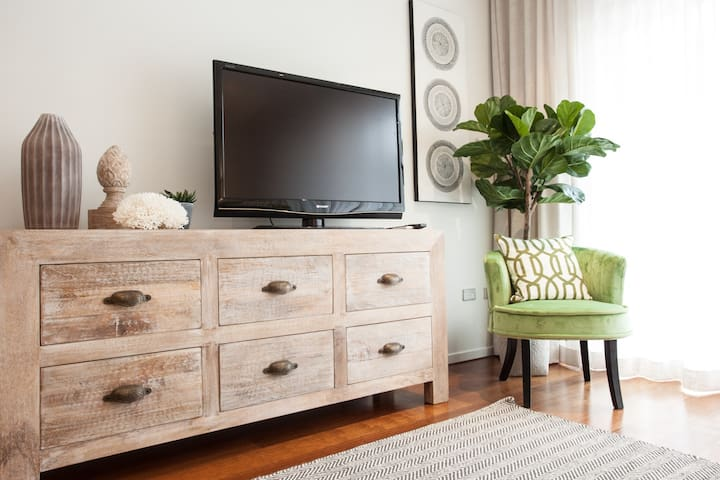 comfy chair with TV