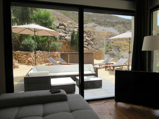 View living room at lounge area garden