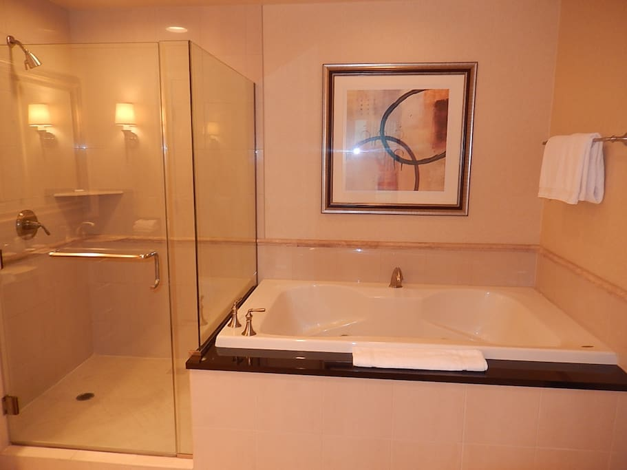 Spacious Bathroom with Shower and Jacuzzi Tub