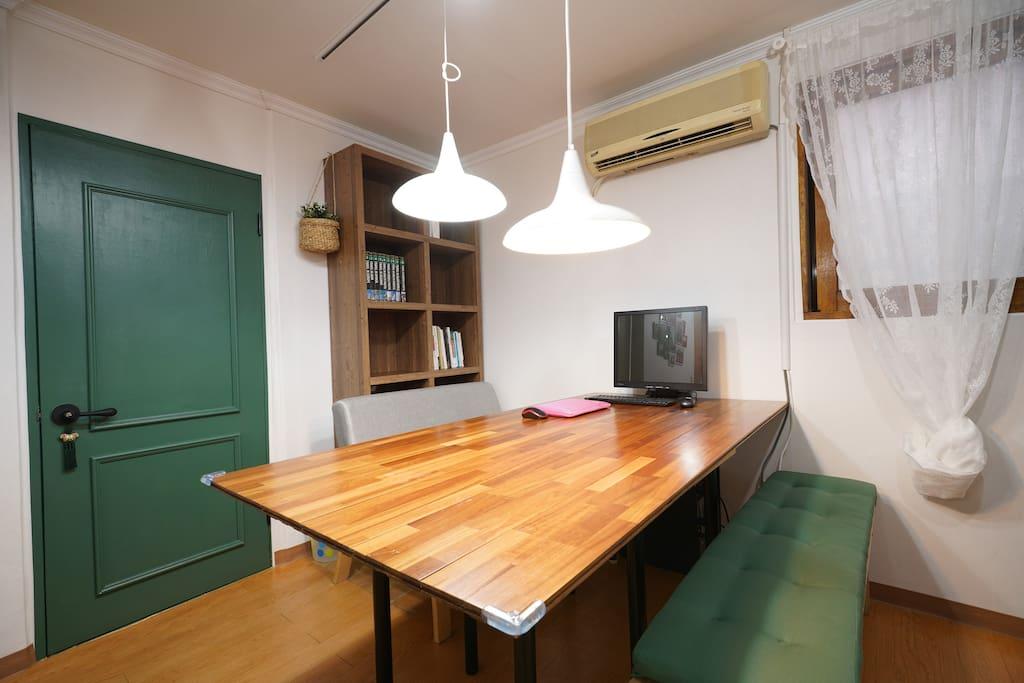 Living Room: Work Table + Bench/Sofa + TV