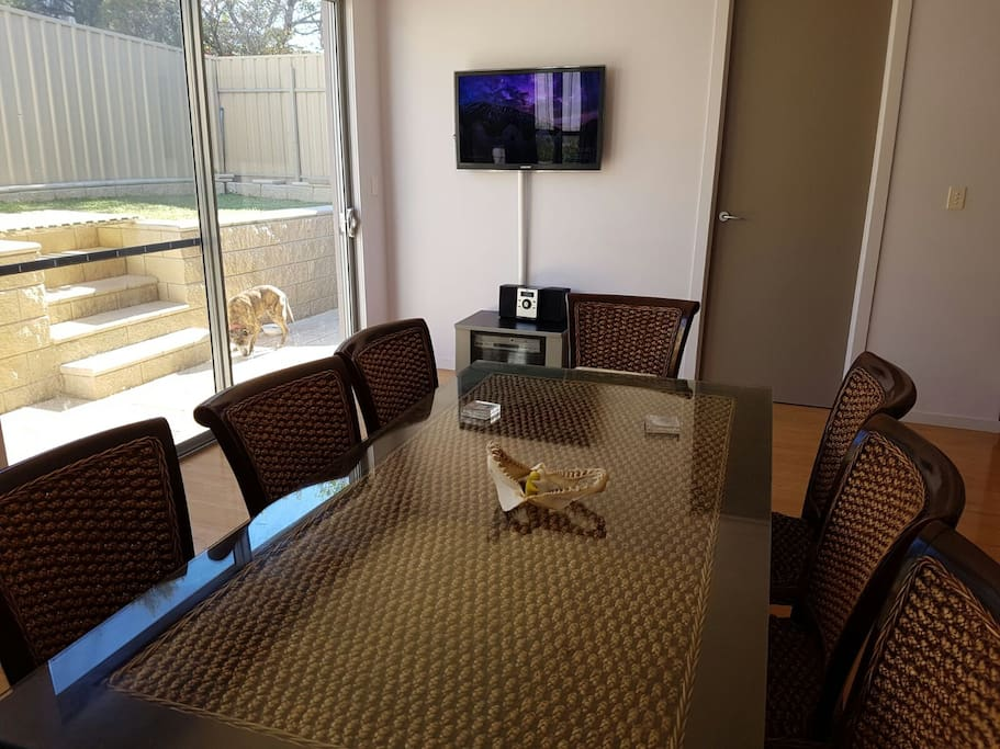 Dining area with LED TV with chromecast