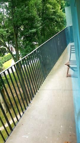 Balcon communiquant avec le salon, la chambre et la salle de sport (possibilité de s'y reposer) Très long balcon