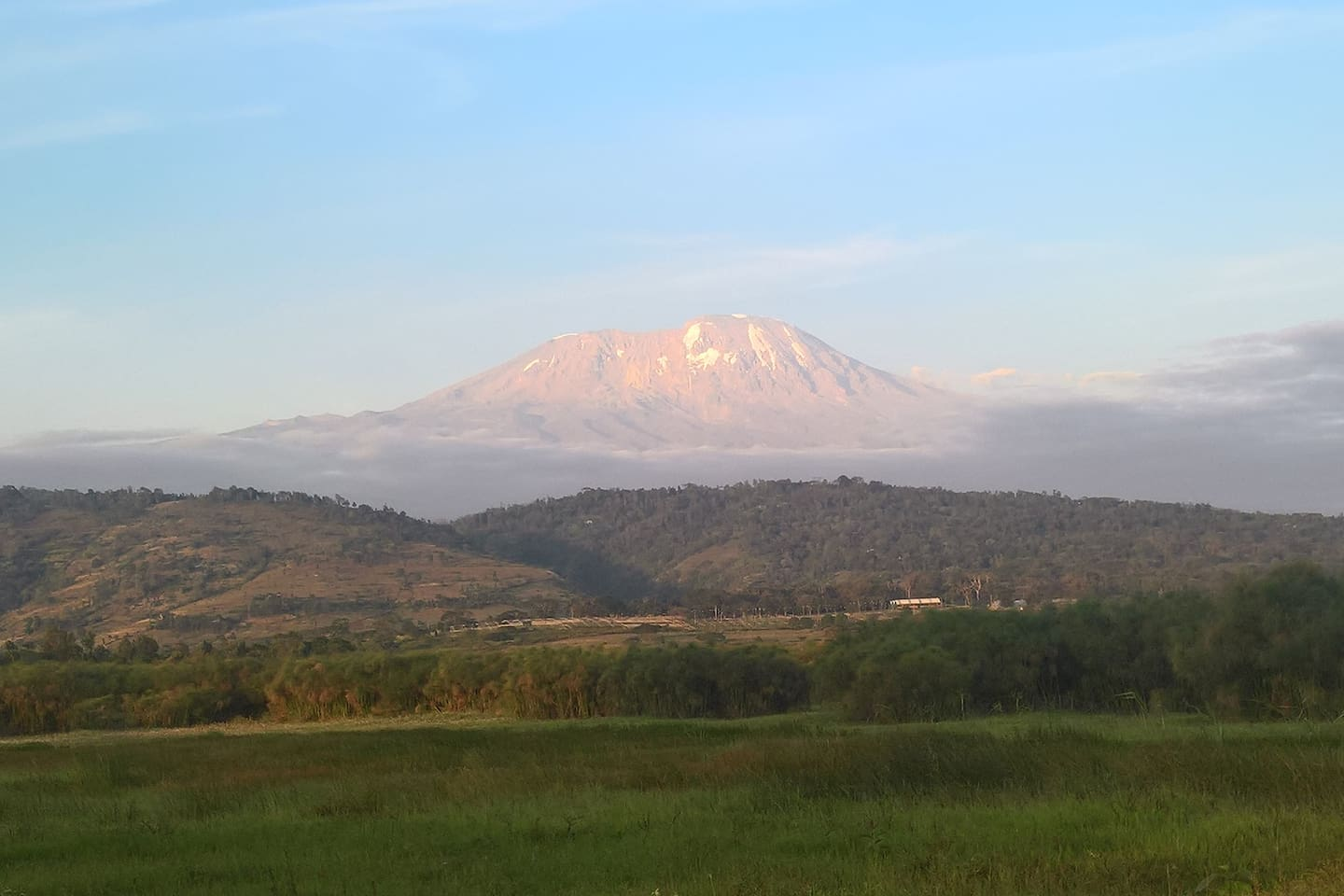 View of Mount Kilimanjaro from the front of the house