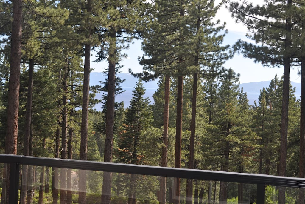 View from the back of our house overlooking forest land and a view of Lake Tahoe through the trees.
