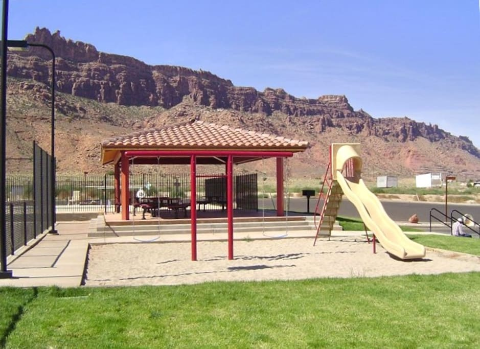 Play ground, tennis courts, basketball court.