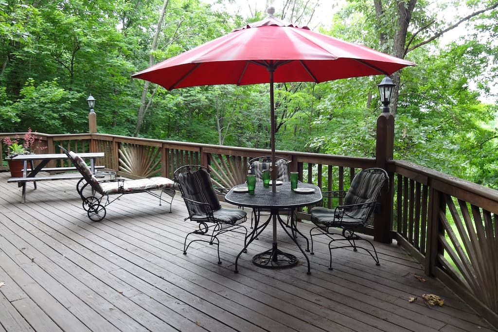 Dine on the deck while observing birds and wildlife