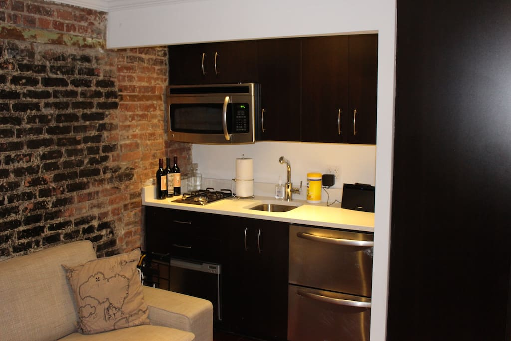 Small kitchen with tabletop stove, fridge/freezer, and dishwasher. Bose speakers can be used via aux cabl