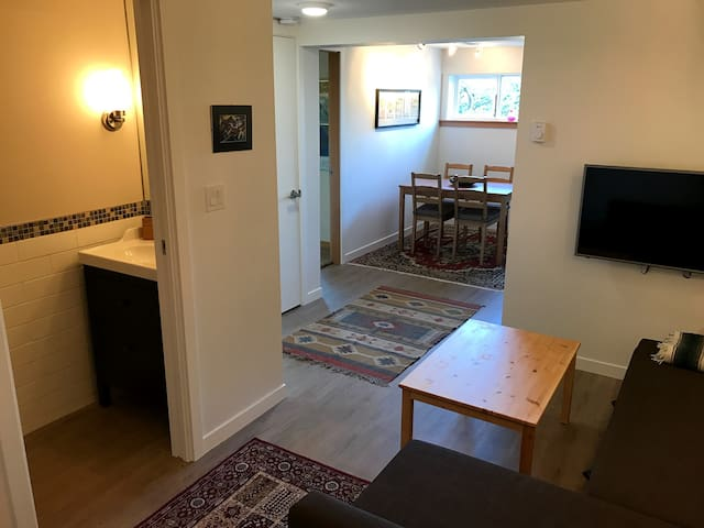Your own private living/dining space and powder room
