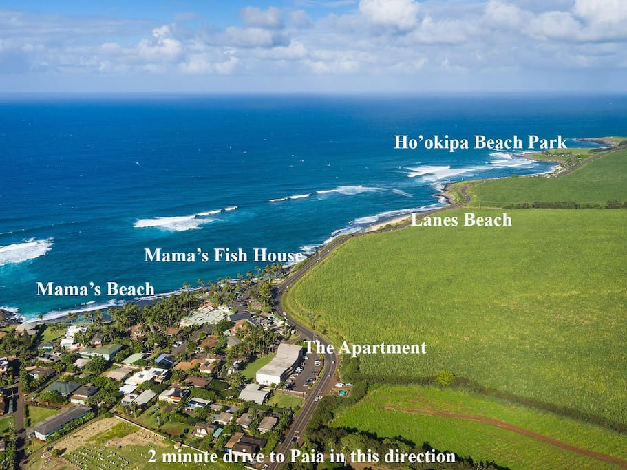 Aerial Map of the adjacent Kuau Area showing nearby Surf Spots, Beaches, Mama's Fish House, and Hana Hwy running along the coast.