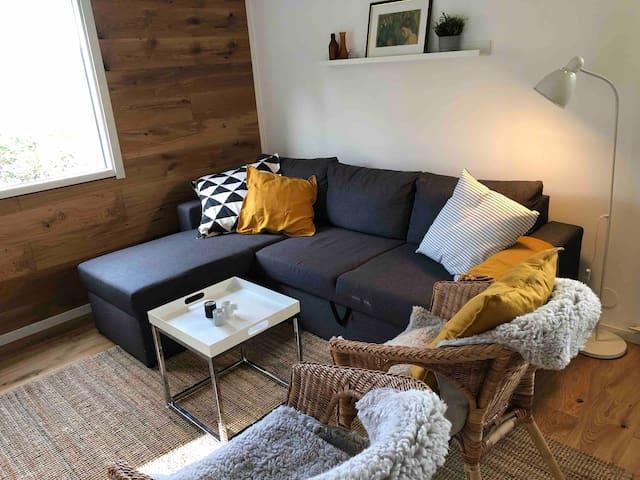 Storstugan med bäddsoffa, bord och fåtöljer.  In english: Living room with sofa bed, table and chairs