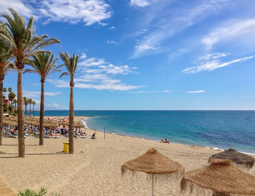 Famous Bil-Bil Beach in Benalmadena Spain where the best off-season weather in Europe can be found