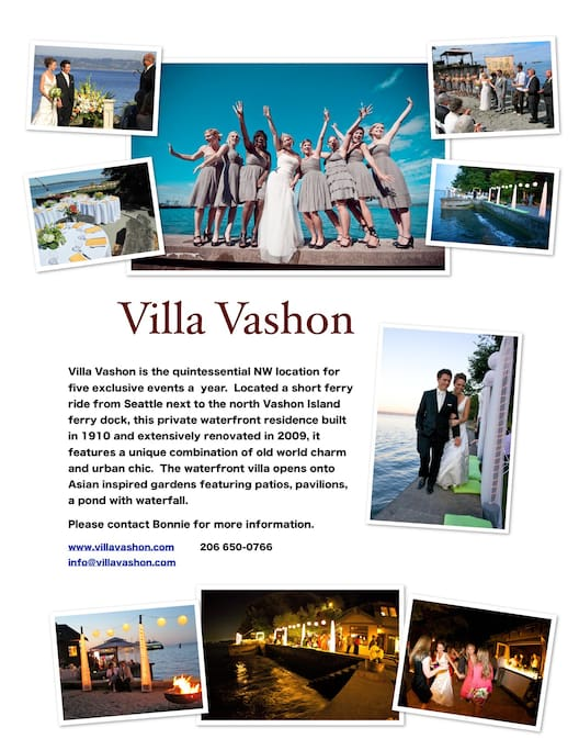 Villa Vashon hosts 5 exclusive weddings per season