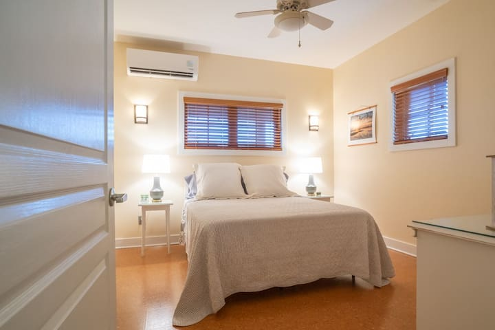Private bedroom with queen size bed. Freshly laundered linens are provided.