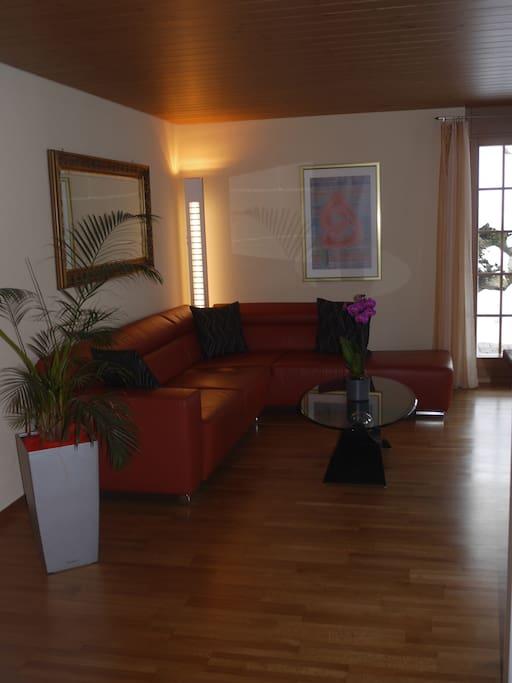 Gemütliches Wohn-Esszimmer mit TV und direktem Zugang zur Terrasse