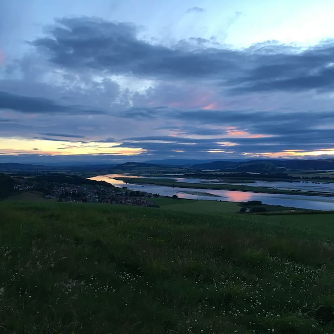 Guests are welcome to walk around the 650 acre farm. They can enjoy breathtaking 360 degree views over Perthshire, Angus and Fife.  This photo shows the view up the River Tay towards Perth at sunset - a 15minute walk from The Arches but a ideal romantic spot for a proposal or drink!