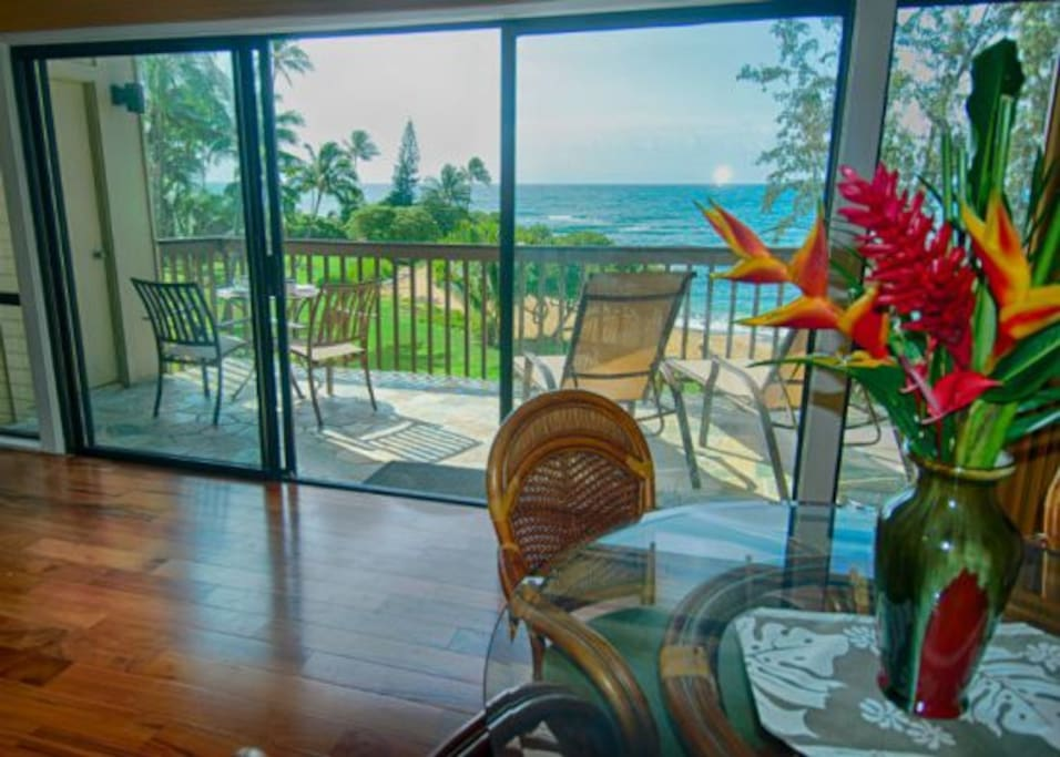 Dining area has a fantastic view