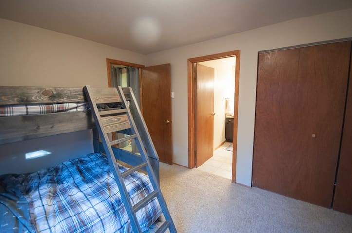 Downstairs bedroom #3: Kid and adult-friendly bunk beds are fun for all. Includes 3 twins and 1 full bed in this room.