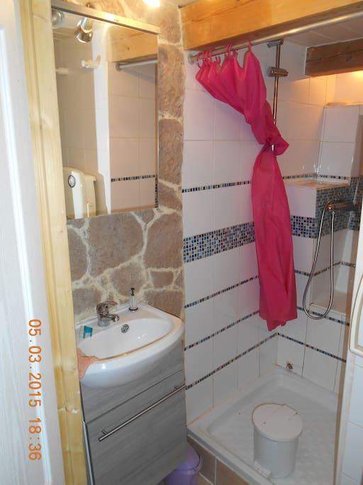 Jolie salle de bain avec grande douche