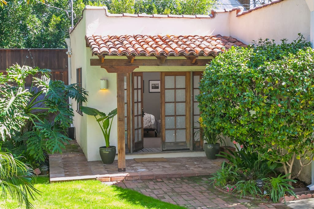 Front entry to the casita is peaceful and secure