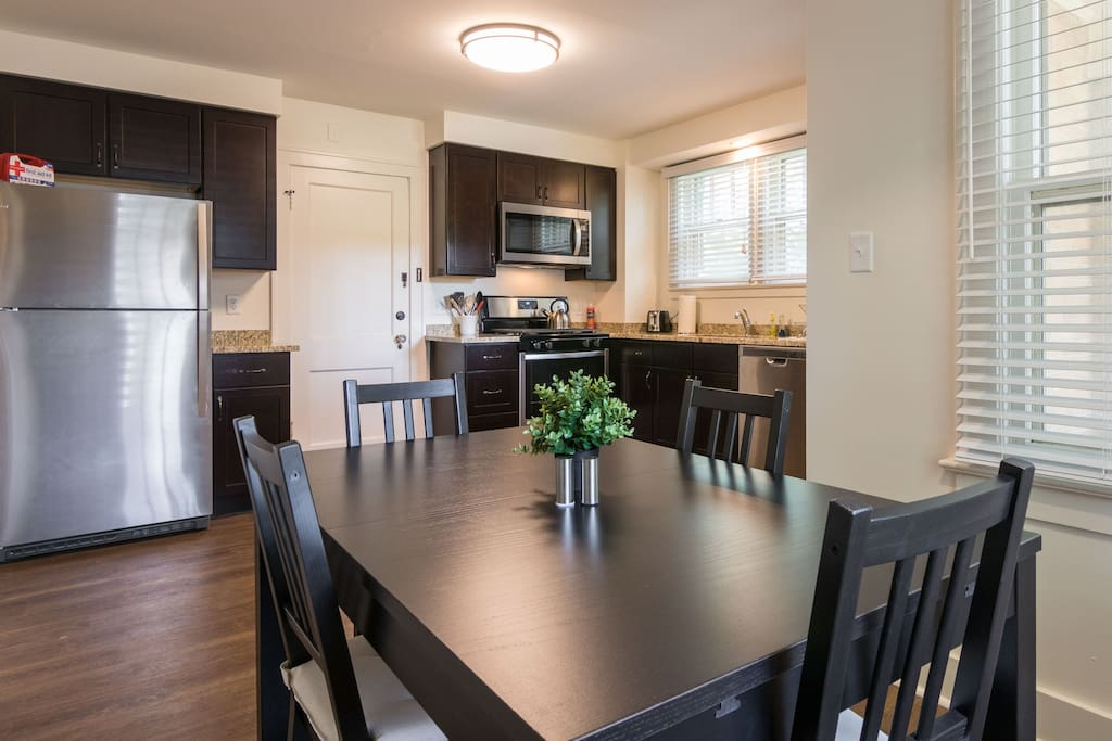 The kitchen is so large and inviting you won't want to leave.  Kitchen table will expand to seat a party of 8 comfortably.  The large stainless steel immaculately clean fridge to keep your food and beverages cool until you are ready to enjoy them.