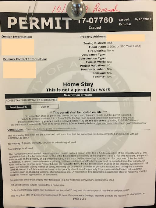 Permit required to operate homestay